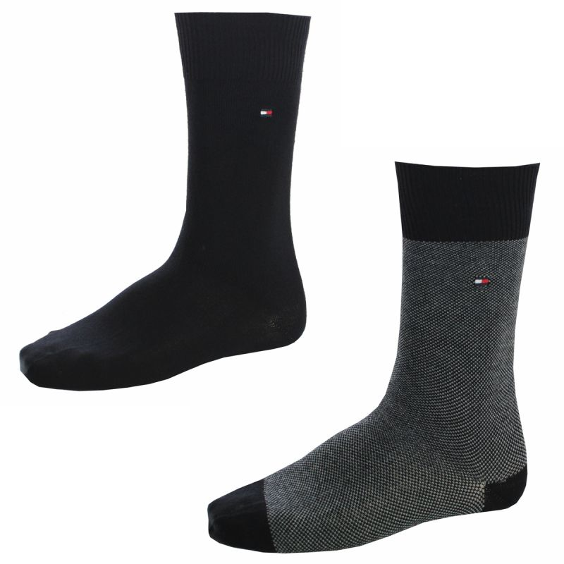 chaussettes pack 2 paires noires mailles moyennes tommy hilfiger. Black Bedroom Furniture Sets. Home Design Ideas