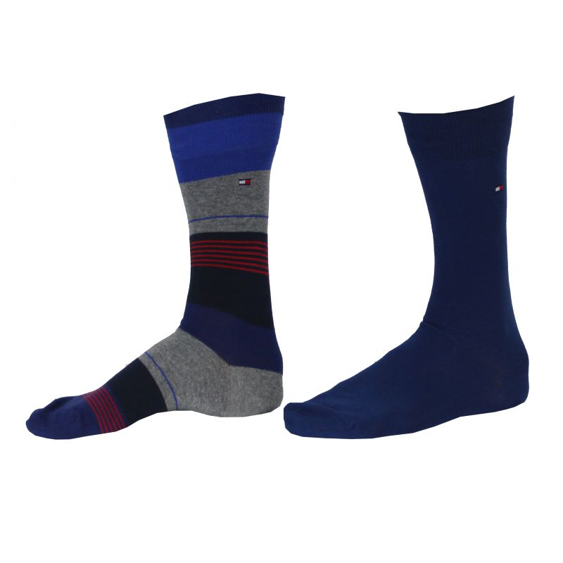 chaussette pack 2 paires bleu mixe rayures tommy hilfiger. Black Bedroom Furniture Sets. Home Design Ideas