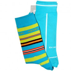 DIESEL - PACK DE 2 CHAUSSETTES TURQUOISE UNIE / RAYURES