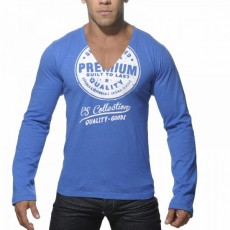 ES - TS070 TEE SHIRT COTON MANCHES LONGUES SLEEVE PRINTED BLEU ROYAL