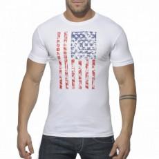 ES - TS081  TEE SHIRT COTON COL ROND USA BLANC