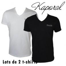 KAPORAL - T-SHIRT LOT DE 2 - NOIR / BLANC