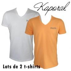 KAPORAL - T-SHIRT LOT DE 2 - MANDARINE / BLANC