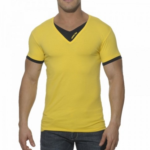 ADDICTED - AD121 T-SHIRT DOUBLE EFFET JAUNE