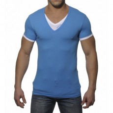 ADDICTED - AD121 T-SHIRT DOUBLE EFFET BLEU SURF