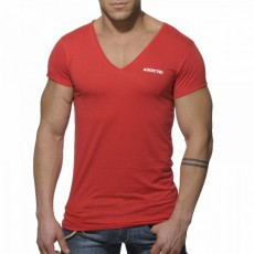 ADDICTED - AD177  T-SHIRT BASIC ROUGE