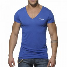 ADDICTED - AD177  T-SHIRT BASIC BLEU ROYAL