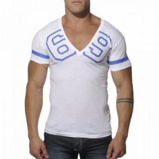 ADDICTED - AD199  T-SHIRT COL V 69 BLANC