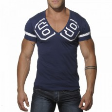 ADDICTED - AD199  T-SHIRT COL V 69 NAVY
