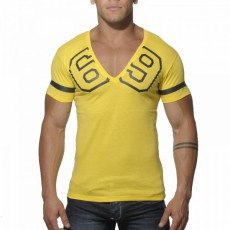 ADDICTED - AD199  T-SHIRT COL V 69 JAUNE