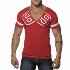 ADDICTED - AD199  T-SHIRT COL V 69 ROUGE
