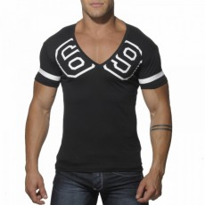 ADDICTED - AD199  T-SHIRT COL V 69 NOIR
