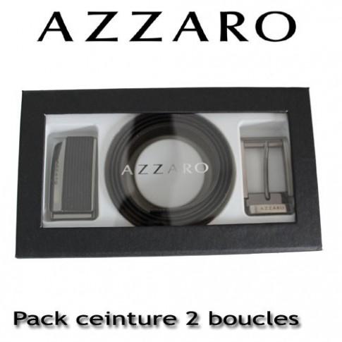 AZZARO - COFFRET CEINTURE 2 BOUCLES MODERNE ZCOF647 - 3,5 CM