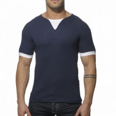 ADDICTED - AD232 T-SHIRT RIBBED NAVY