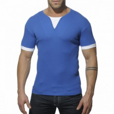 ADDICTED - AD232 T-SHIRT RIBBED BLEU ROYAL