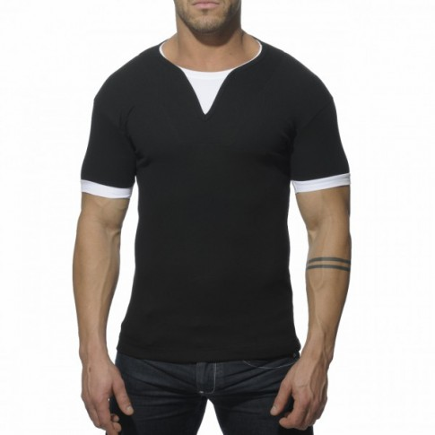 ADDICTED - AD232 T-SHIRT RIBBED NOIR