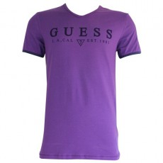 GUESS - T SHIRT COL V FLAIR PURPLE