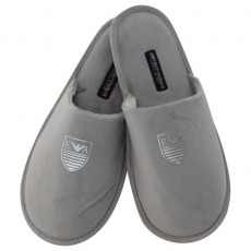 CHAUSSONS ARMANI GRIS LOGO STAMP