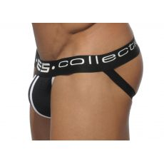 JOCK STRAP UN104 NOIR ELASTIC CONTRAST MESH ES COLLECTION