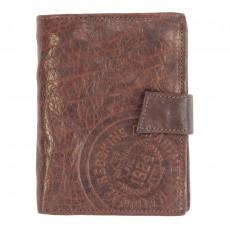 Portefeuille vertical à 3 volets en cuir texturé brun Redskins