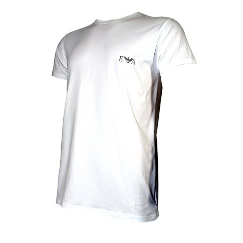 T-SHIRT BLANC COL RONG LOGO ARMANI ARGENTE