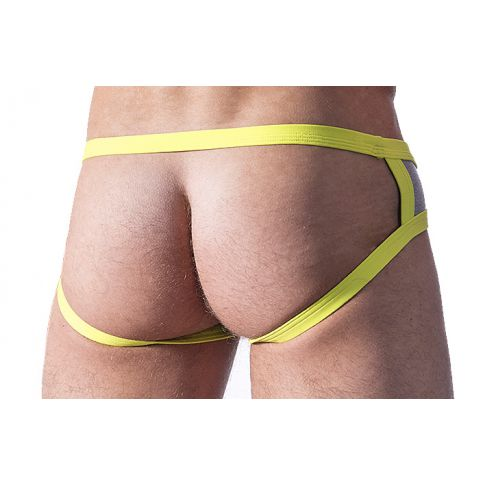 JOCK STRAP RETRO PUSH UP GRIS JAUNE M425 - MANSTORE