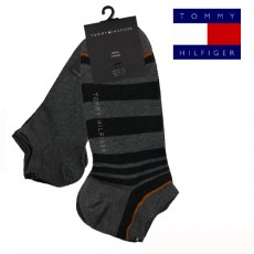 CHAUSSETTE INVISIBLE PACK 2 PAIRES STRIPE SNEAL GRIS TOMMY HILFIGER