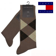 CHAUSSETTE PACK 2 PAIRES BRUN INTARSIA CHECK TOMMY HILFIGER