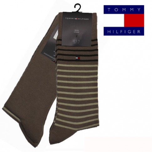 CHAUSSETTE PACK 2 PAIRES BEIGE PETITES RAYURES STRIPE TOMMY HILFIGER