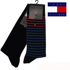 CHAUSSETTE PACK 2 PAIRES MARINE PETITES RAYURES STRIPE TOMMY HILFIGER