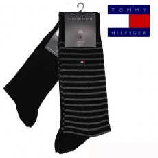 CHAUSSETTE PACK 2 PAIRES NOIRES PETITES RAYURES STRIPE TOMMY HILFIGER