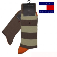 CHAUSSETTE PACK 2 PAIRES BEIGE GROSSES RAYURES FUN RUGBY TOMMY HILFIGER