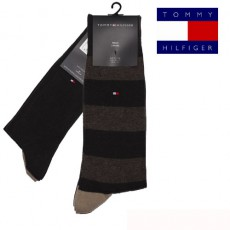 CHAUSSETTE PACK 2 PAIRES BRUNE GROSSES RAYURES FUN RUGBY TOMMY HILFIGER