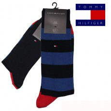 CHAUSSETTE PACK 2 PAIRES MARINE GROSSES RAYURES FUN RUGBY TOMMY HILFIGER