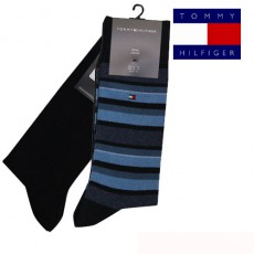 TOMMY - CHAUSSETTE PACK 2 PAIRES MARINEE RAYURES MIXTES MIDNIGHT BLUE