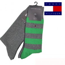TOMMY - CHAUSSETTE PACK 2 PAIRES VERT GRISE GROSSES RAYURES