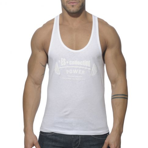 DEBARDEUR BLANC POWER GYM TS077 - ES COLLECTION