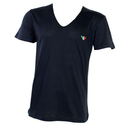 T-SHIRT GRAND COL EN V NOIR LOGO ITALIEN - ARMANI