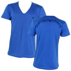 T-SHIRT LARGE COL EN V BLEU ROYAL LARGE LOGO DOS - ARMANI