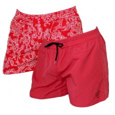 SHORT DE BAIN ROUGE REVERSIBLE NECTARINE - GUESS