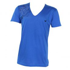 T-SHIRT LARGE COL EN V BLEU ROYAL GRAFFITI - ARMANI