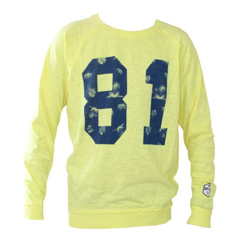 SWEAT D ETE JAUNE  COL ROND LS ROUND - GUESS