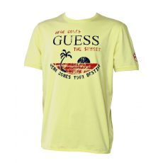 T-SHIRT JAUNE  COL ROND SS ROUND - GUESS
