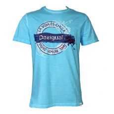 T-SHIRT TURQUOISE LUIS COL ROND - DESIGUAL