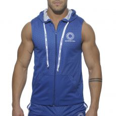 VESTE SPORT BLEU ROYAL SANS MANCHES A CAPUCHE AIRMESH  AD211 - ADDICTED