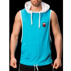 HOODY TURQUOISE SANS MANCHES A CAPUCHE FLOYD - BARCODE