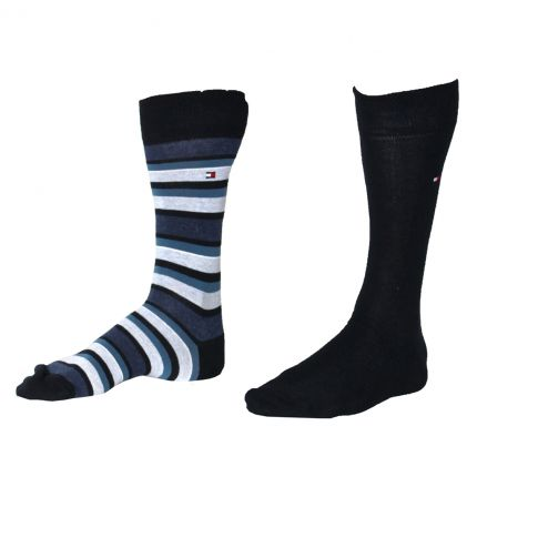 CHAUSSETTES PACK 2 PAIRES NOIR BLEU NAVY RAYURES - TOMMY HILFIGER