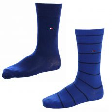 CHAUSSETTE PACK 2 PAIRES MARINE / BLEU ROYAL RAYURES STRIPE TOMMY HILFIGER