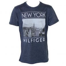 T-SHIRT NAVY DENIM NEW YORK MANCHES COURTES COL ROND  - TOMMY HILFIGER