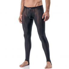 PANTALON LEGGINGS NOIR STRAPPED EN TULLE FIN TRANSPARENT M101 - MANSTORE